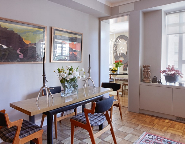 Small dining rooms that save up on space for Narrow dining room ideas