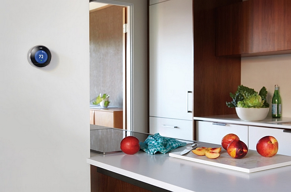 Nest learning Thermostat in the kitchen