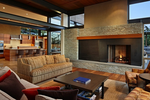 Open plan living area with modern fireplace