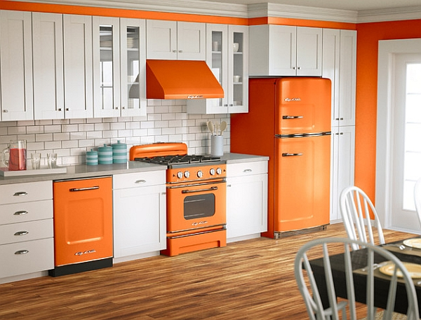 Orange and white is a popular color scheme for retro designs