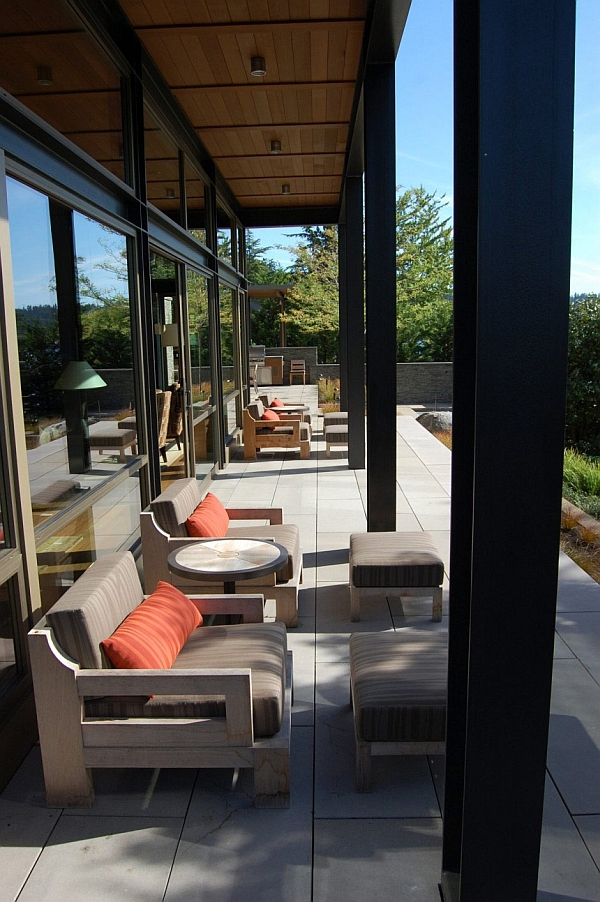 Outdoor patio space with plush seating