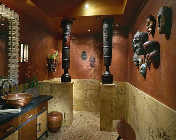 Pacific Island masks along with a pair of African drums in the powder room!