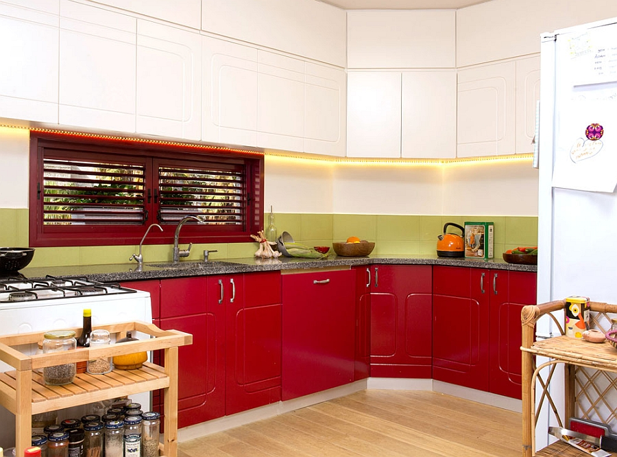 Painted red cabinets in the kitchen after renovation