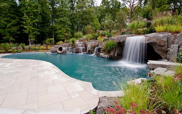 peaceful pool retreat in new york breathtaking pool waterfalls to