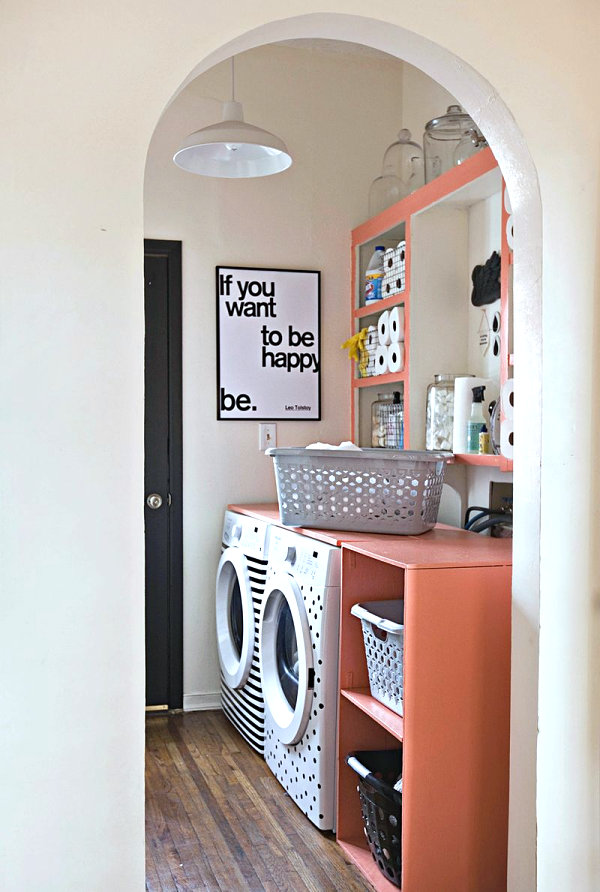 Peach laundry room shelving