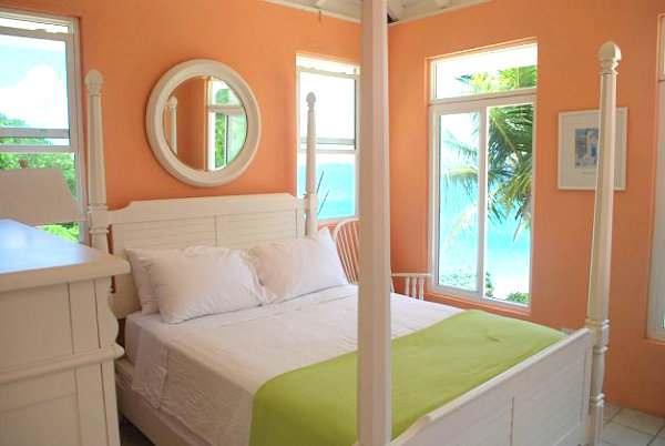 Peach tropical bedroom