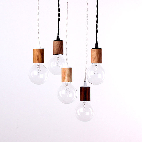 Pendant lamp with wood veneer
