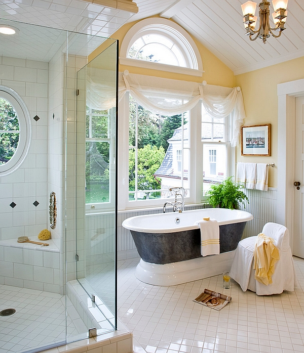 Place the gorgeous bathtub next to the window to enjoy the refreshing view outside