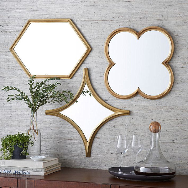 Geometric Wall Mirror mirrored wall decor. view in gallery plated brass mirrors. aidan