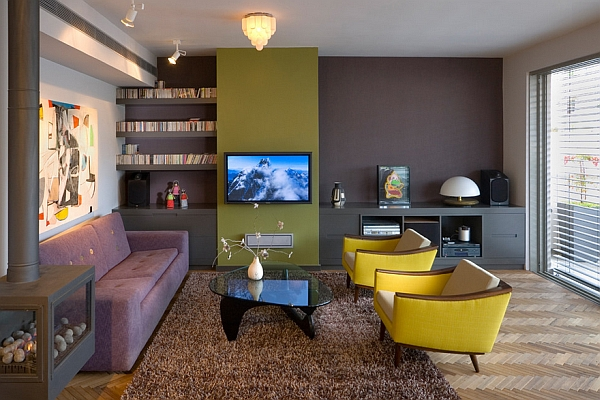 Pops of yellow and purple and a shag rug bring in the retro