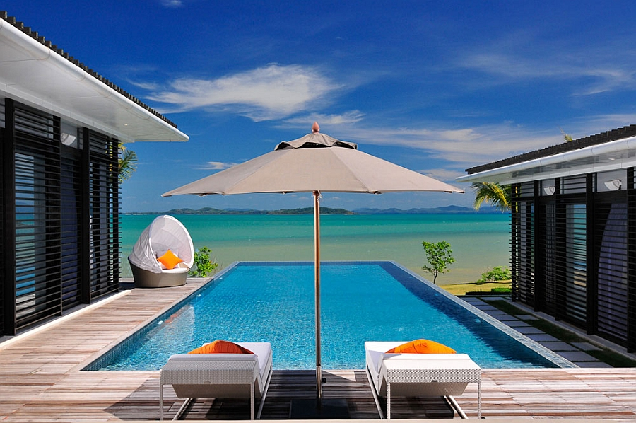 Private pool with plush seating options