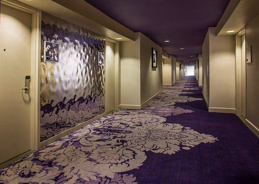 Purple corridors leading to the comfortable hotel rooms at the Palm Springs