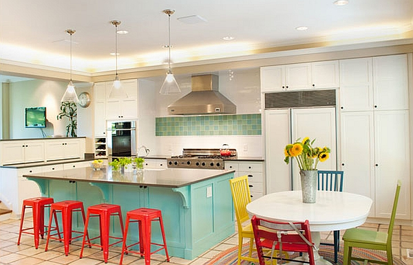 Red bar stools for modern kitchen