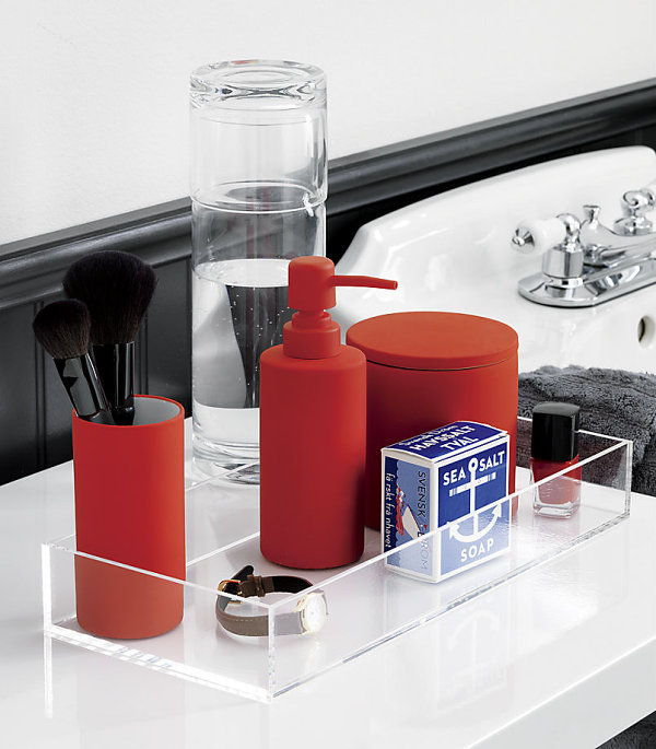 Red-orange bath accessories