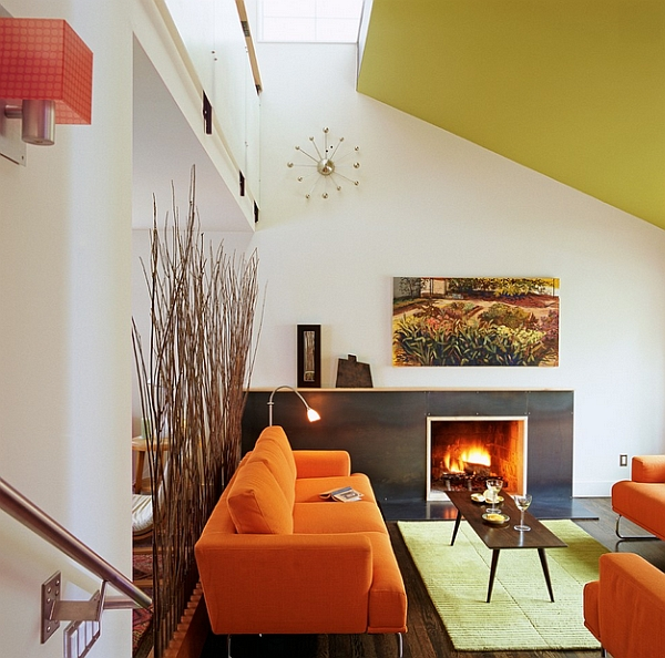 Retro design combined with bold ceiling color