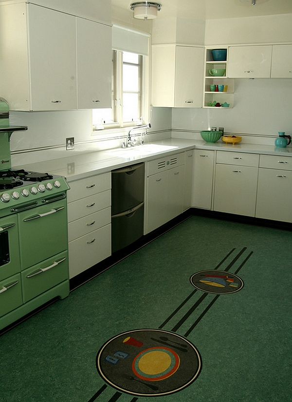 Retro kitchens that spice up your home - Retro flooring kitchen ...