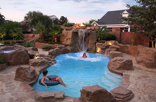 Rock swimming pool with a captivating and grand waterfall feature