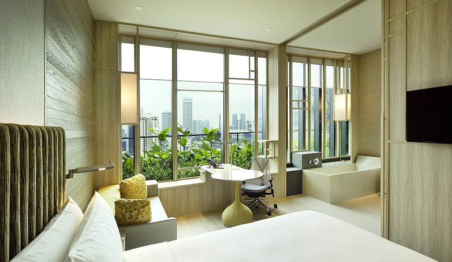 Rooms of the hotel exude a more contemporary vibe