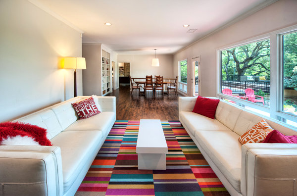Rug with colorful block pattern