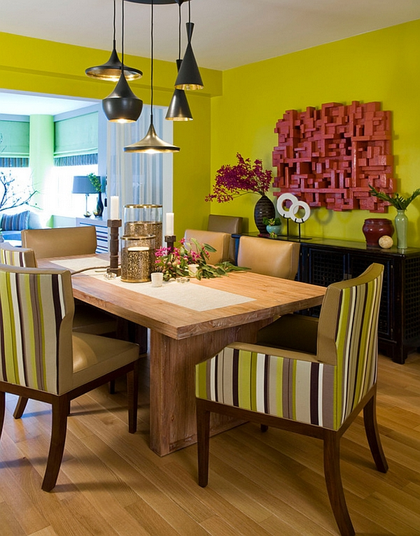 Rustic dining room table placed in a vivacious setting