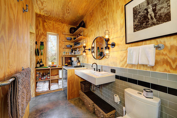 view in gallery rustic industrial bathroom - Small Cabin Interior Design Ideas