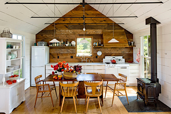 view in gallery rustic kitchen and dining space - Cabin Interior Design Ideas