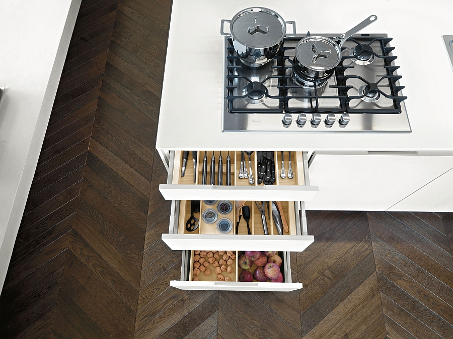 Savvy storage shelves for the kitche island