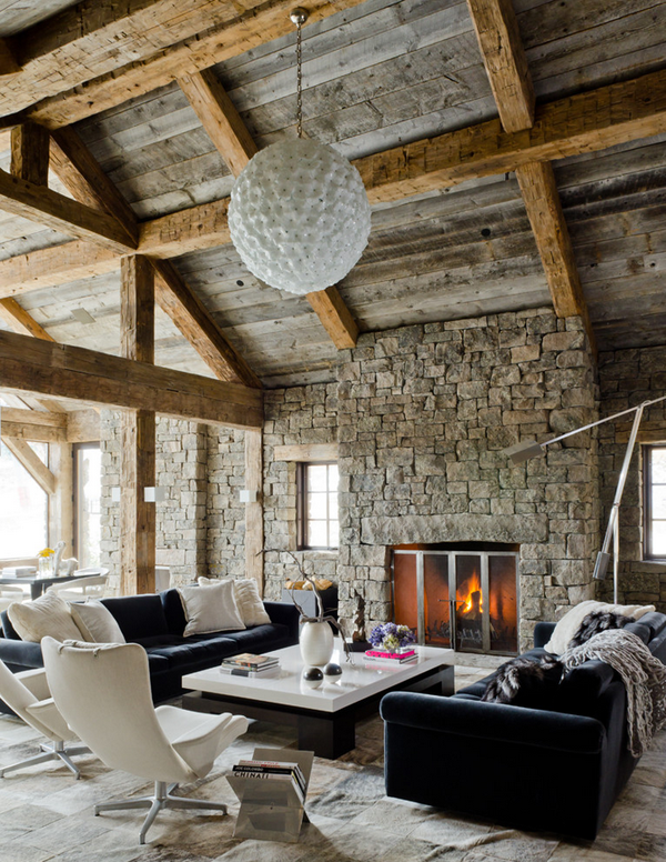 Defining elements of the modern rustic home - Great home interior and exterior decoration with white stone fireplace ...