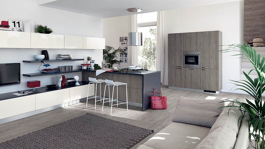 Sleek and Stylish Sax Kitchen from Scavolini Sleek Modern Kitchen Looks Like A Posh Contemporary Office!