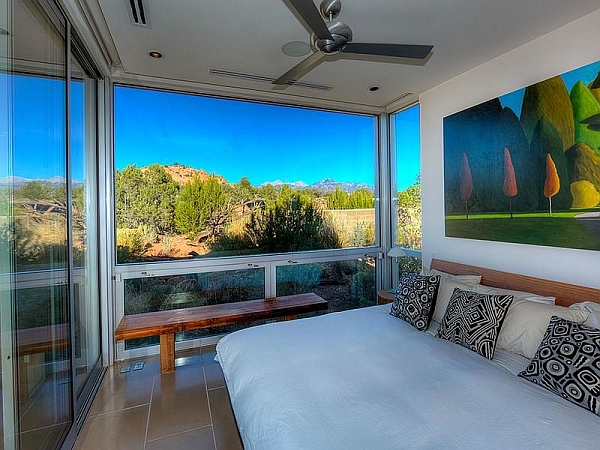 Sliding glass doors for modern bedroom