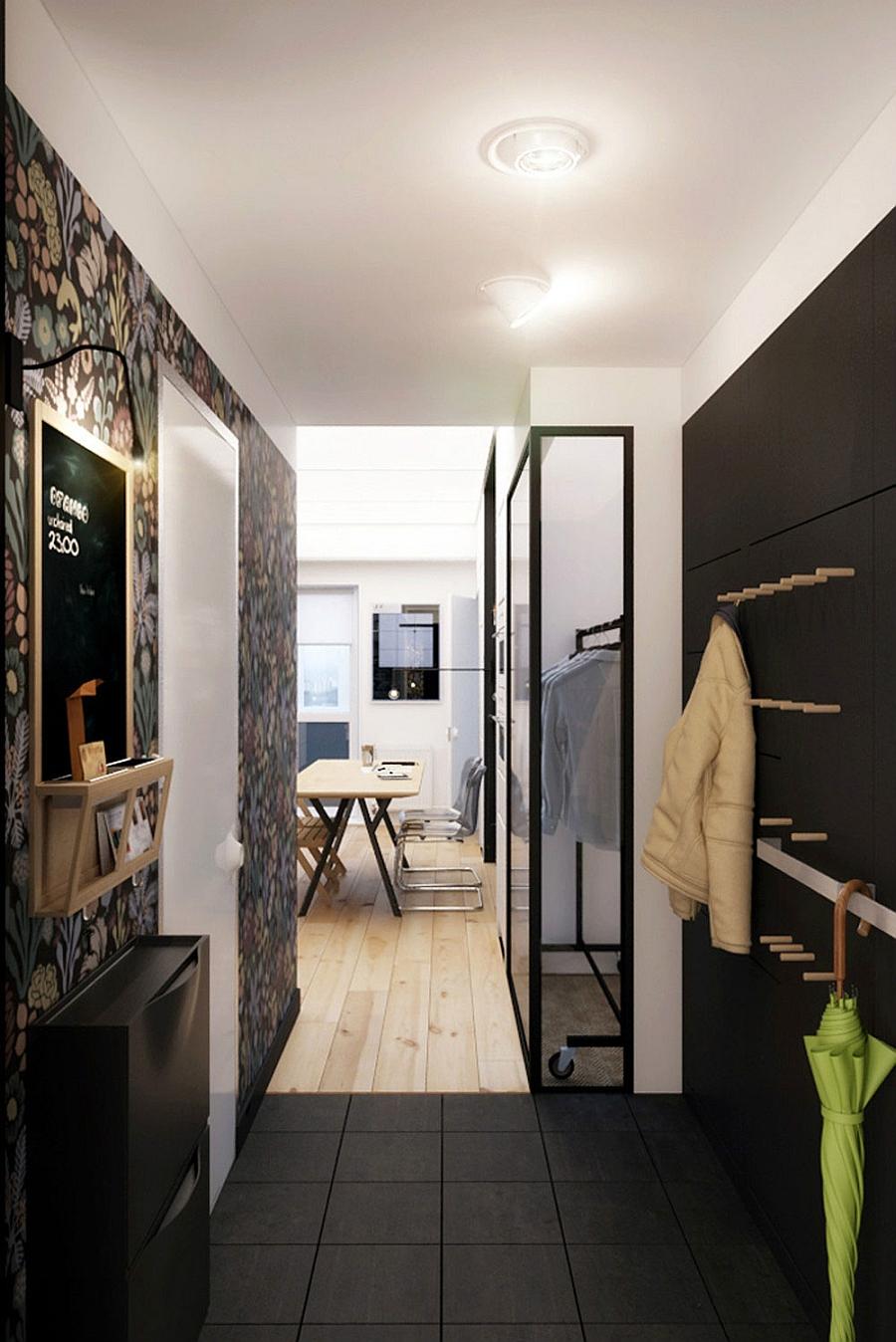 Small entryway clad in black