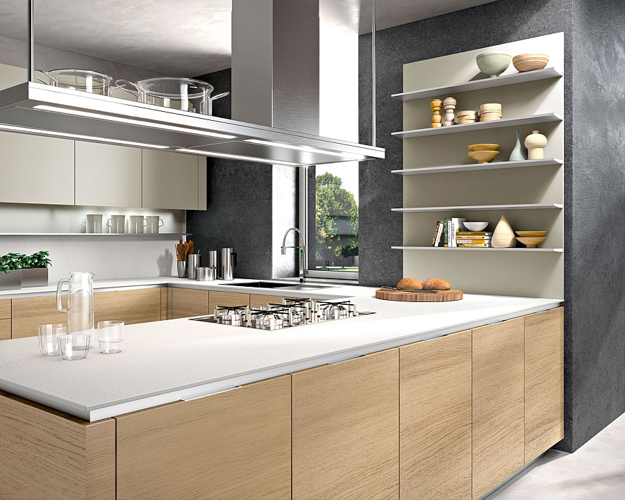 Smart modern kitchen with oak finishes