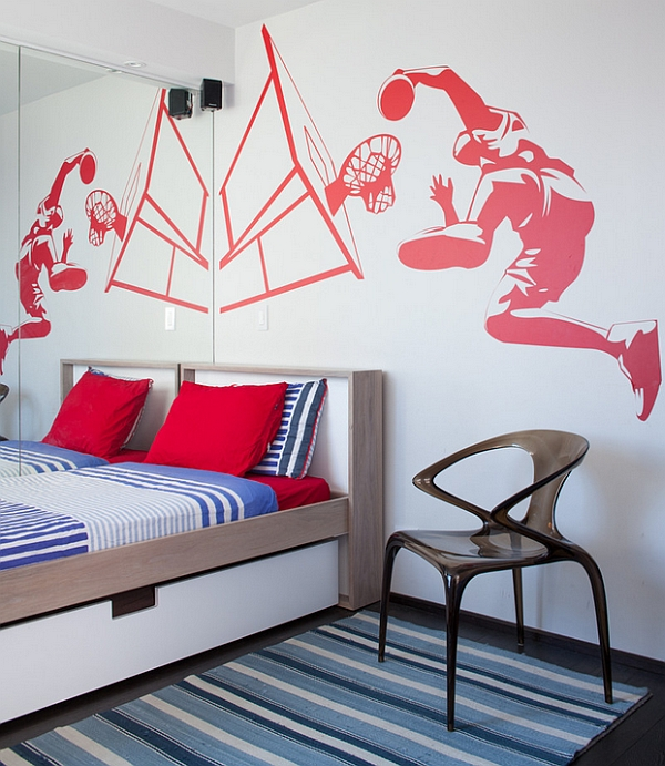 Smartly placed mirror enhances the impact of the wall mural