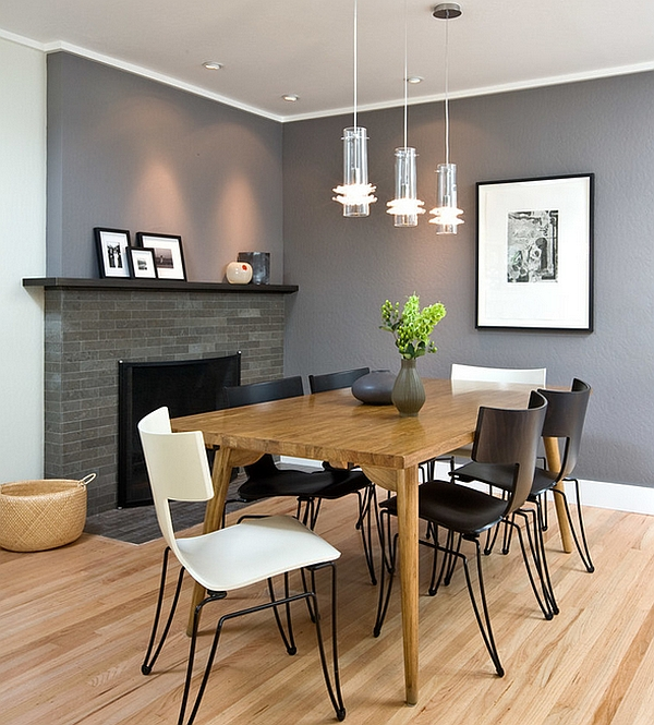 Sophisticated dining room in trendy grey