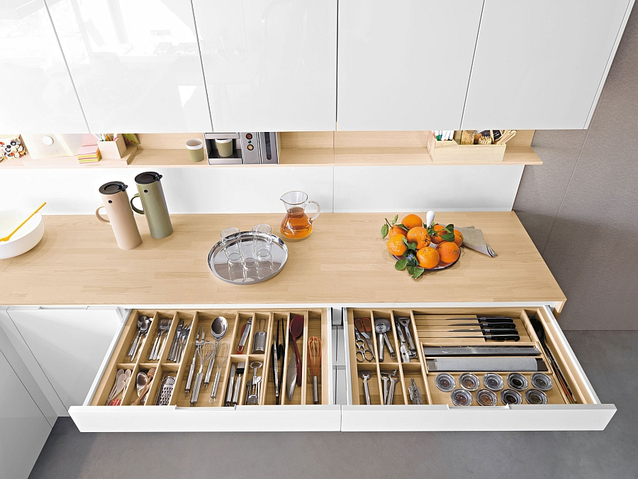 Contemporary italian kitchen offers functional storage - Space saving cabinet ideas ...