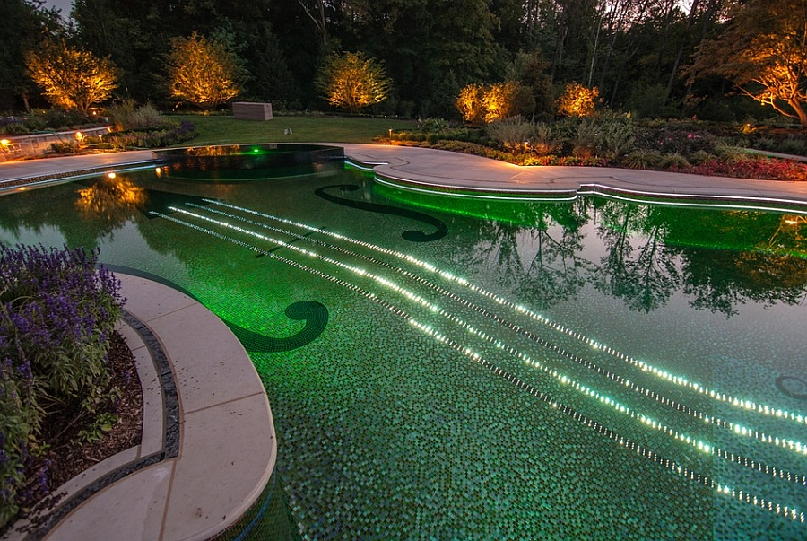 Spectacular pool with LED lighting controlled by iPhone