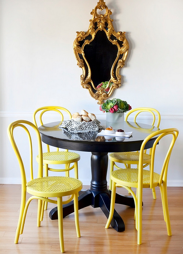 Splash of yellow enlivens the dining room