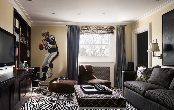 Sports themed life size football wall decal for the modern living room