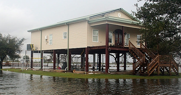 Steel frame house standing tall after Hurricane Ike