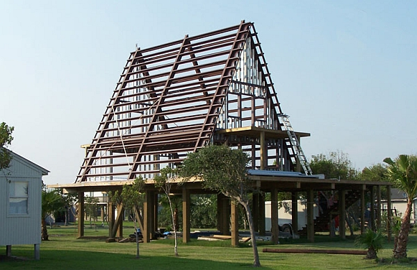 Steel frame of the house during construction