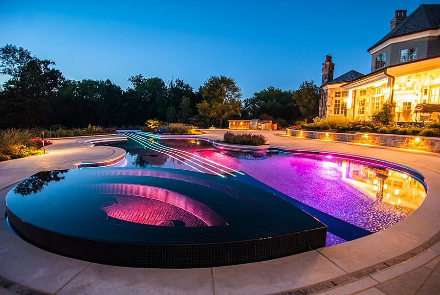 Stradivarius violin pool at night