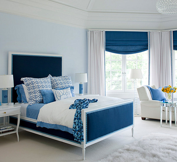 View in gallery Striking blue bedroom