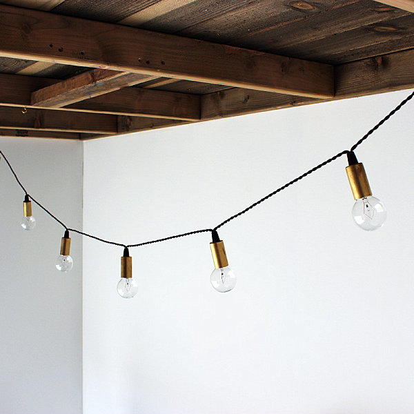 String lights in brass
