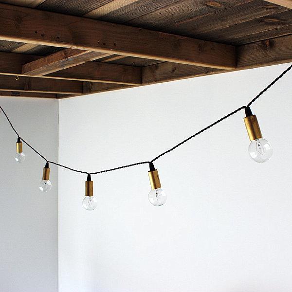 String lights in brass