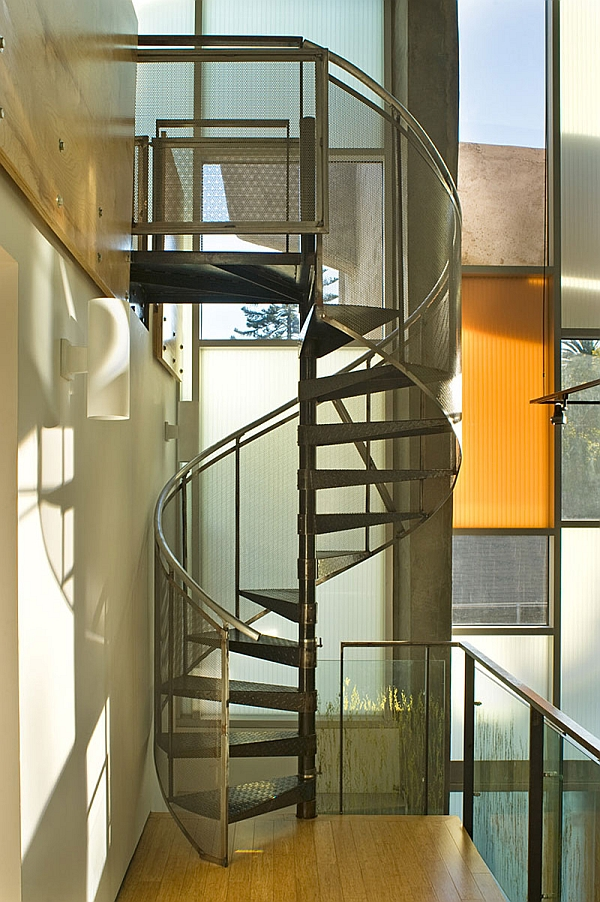 view in gallery stunning spiral staircase adds to the metallic appeal
