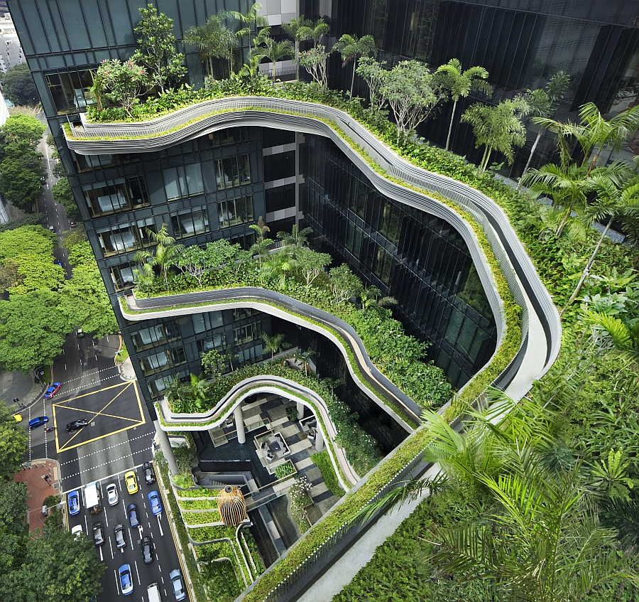 Stunning terraced gardens at the PARKROYAL with tropical plants