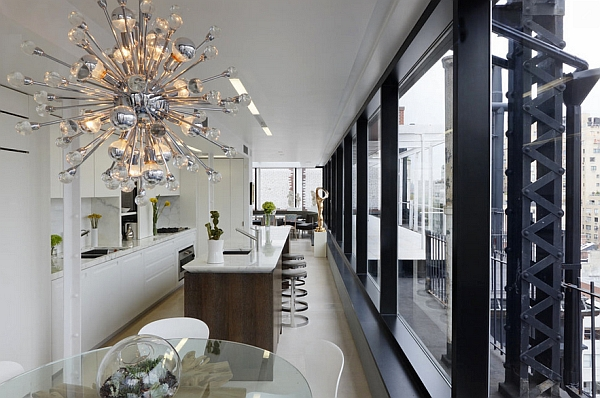 Stylish Sputnik Chandelier with metallic glint