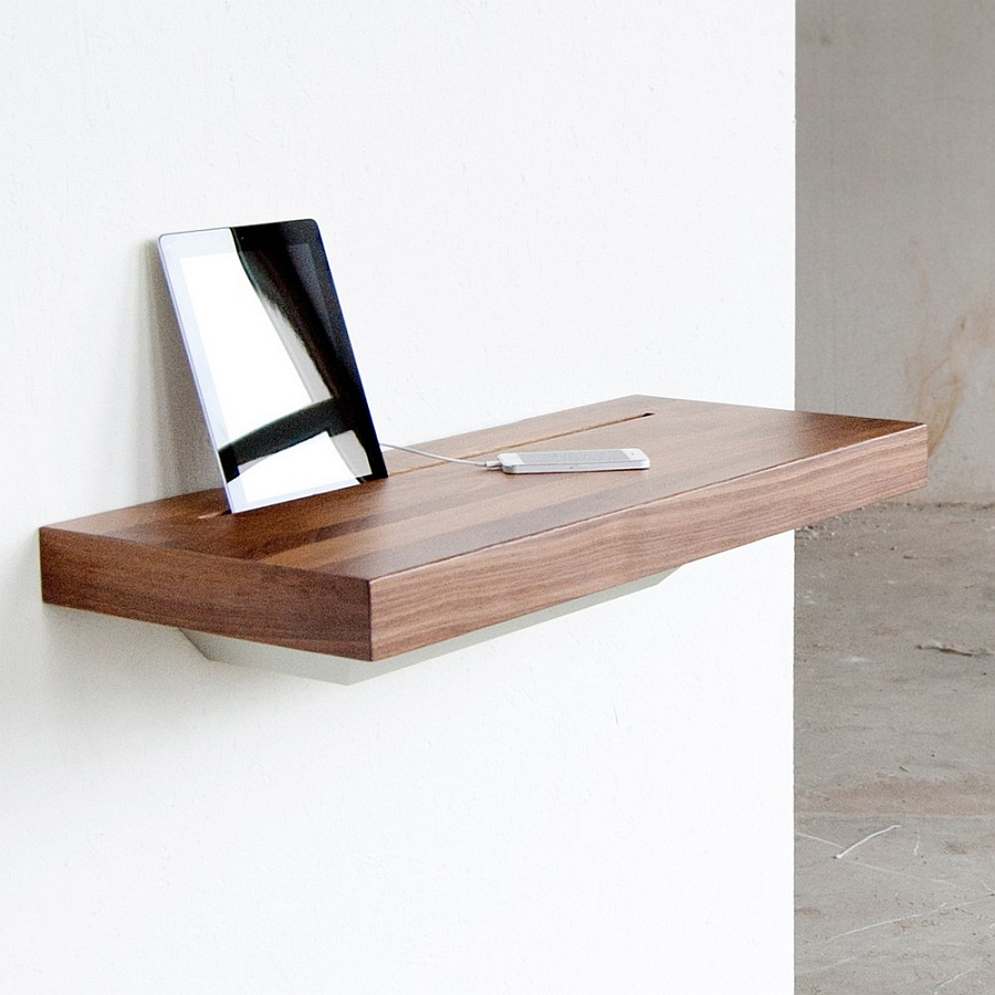 Stylish Stage Shelf with hidden chaging station for iPhone and iPad Elegant Stage Offers A Discreet Charging Shelf For Your Smart Gadgets