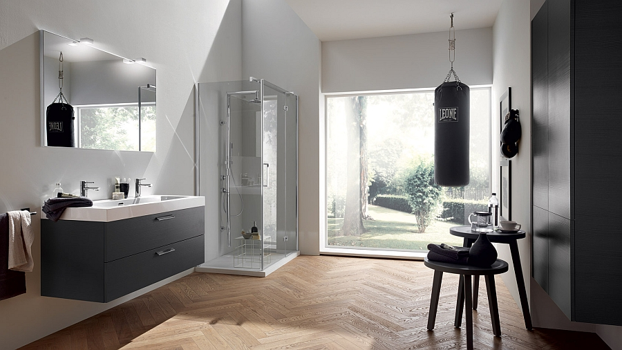 Stylish bathroom in grey and white
