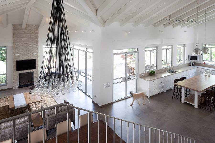 Stylish chandelier in the living room